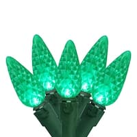 "Set of 70 Green Faceted LED C6 Christmas Lights 4"" Bulb Spacing - Green Wire"