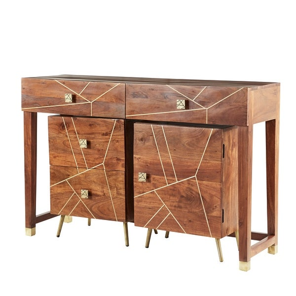 "Large Modern Natural Wood Console Table with 2-Drawer and 2-Layer Storage Cabinet Set of 3 52"" 19"" 19""W - 52 x 16 x 34. Opens flyout."