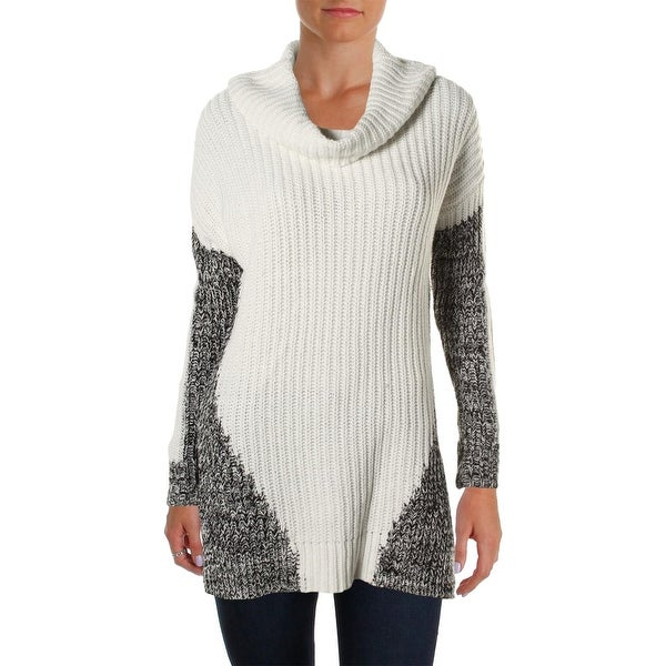 Heather B Womens Pullover Sweater Ribbed Knit Marled