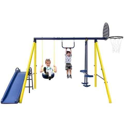 Merax 5 in 1 Outdoor Swing Set with Seesaw Swing, Monkey Bar, Basketball Hoop