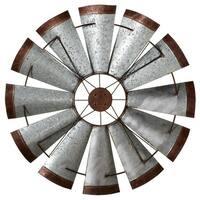 "39"" Galvanized with Rustic Edge Windmill Decorative Round Wall Decor"