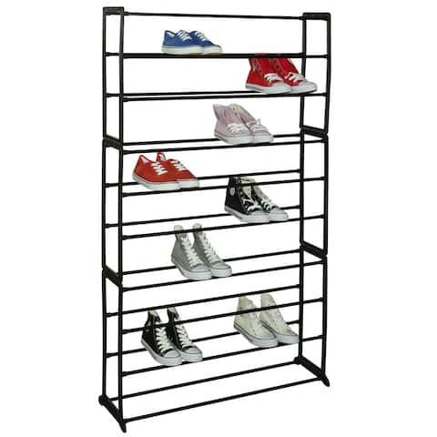 "Home Basics Black 50-Pair Shoe Tower Multi-Purpose Storage Rack - 36.5"" x 9.25"" x 56"""
