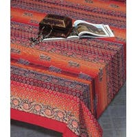 Handmade Cotton Paisley Good Luck Elephant Tapestry Tablecloth Bedspread Twin Full Orange