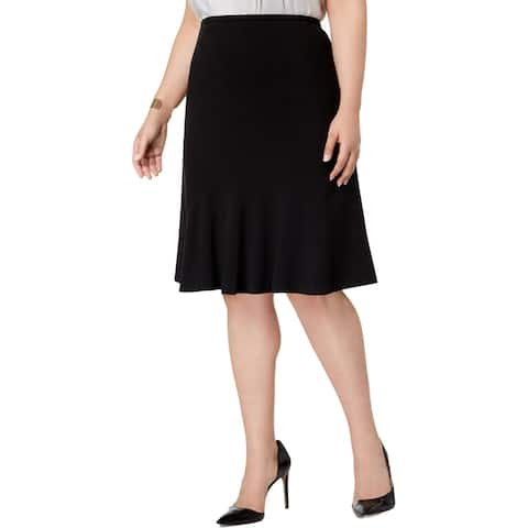 Nine West Womens Plus Flare Skirt Stretch Knee-Length - Black