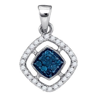 Cushion Cluster Pendant 10K White-gold With Diamonds 0.2 Ctw By MidwestJewellery - Blue