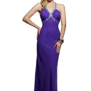 Faviana NEW Purple Jewel Embellished Women's Size 00 Ball Gown