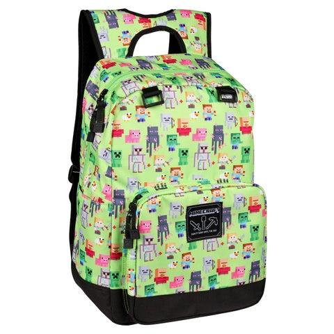 "JINX Minecraft Overworld Sprites Kids Backpack (Green, 17"") for School, Camping, Travel, Outdoors & Fun"