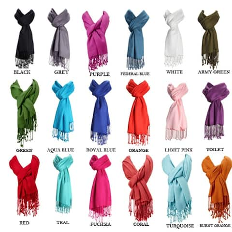 Women Premium Pashmina Solid Color Paisley Floral Brocade Jacquard Scarf Shawl W/Fringes Winter Holidays Gift Christmas