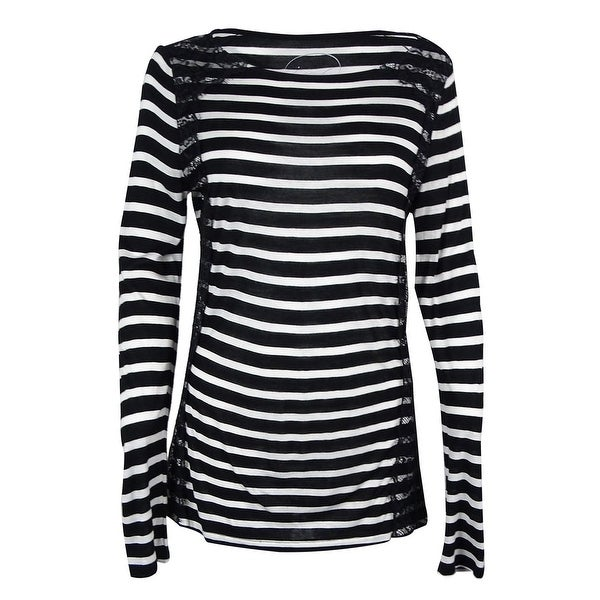 42bc9126df5 Shop INC International Concepts Women s Lace Long Sleeve Top - Black White  Stripe - M - On Sale - Free Shipping On Orders Over  45 - Overstock -  18302559