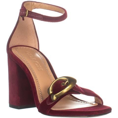 08456f422 Coach Maya 85 Block Heel Front Logo Buckle Sandals