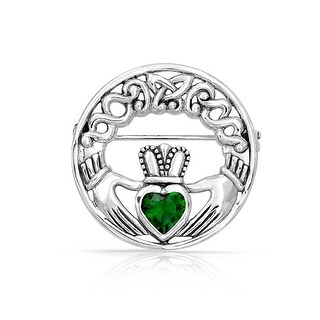 Bling Jewelry 925 Silver Celtic Claddagh Pin Green Heart CZ