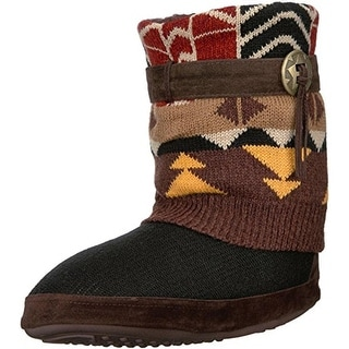 Muk Luks Womens Sofia Bootie Slippers Knit Faux Fur Lined - S