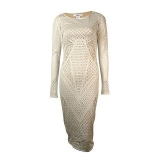 Bar III Women's Long Sleeve Overlay Dress - s
