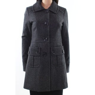 Tulle NEW Charcoal Gray Womens Size XS Button-Front Patch Pocket Coat