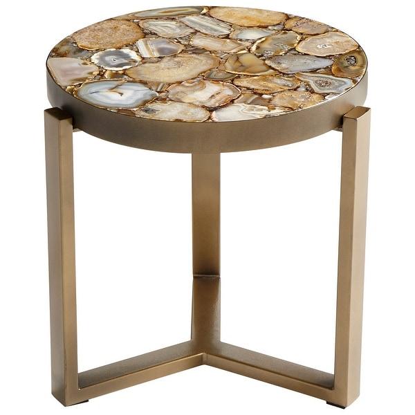 "Cyan Design 0898B Geodance 16-3/4"" Diameter Stone Top Iron Accent Table"