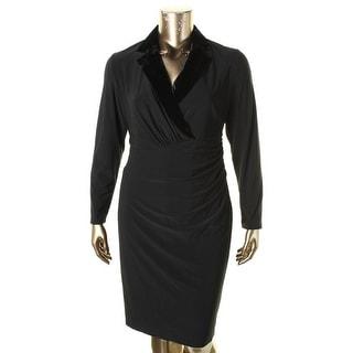 Lauren Ralph Lauren Womens Plus Tuxedo Dress Velvet Trim Ruched