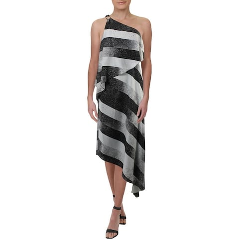 Halston Heritage Women's Asymmetrical Striped One Shoulder Popover Maxi Dress - Black/Chalk Stardust Stripes