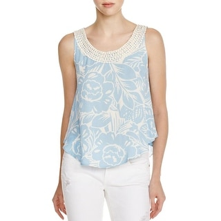 Aqua Womens Casual Top Embellished Printed