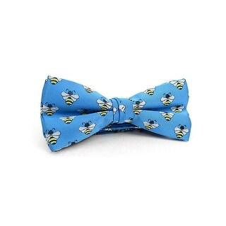 Men's Blue Bee Print Adjustable Banded Bowtie - NFB10024 - regular