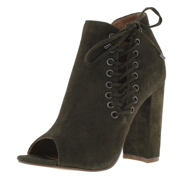 255fca29f83 Steve Madden Womens Ballard Booties Suede Open Toe Green 7.5 Medium (B