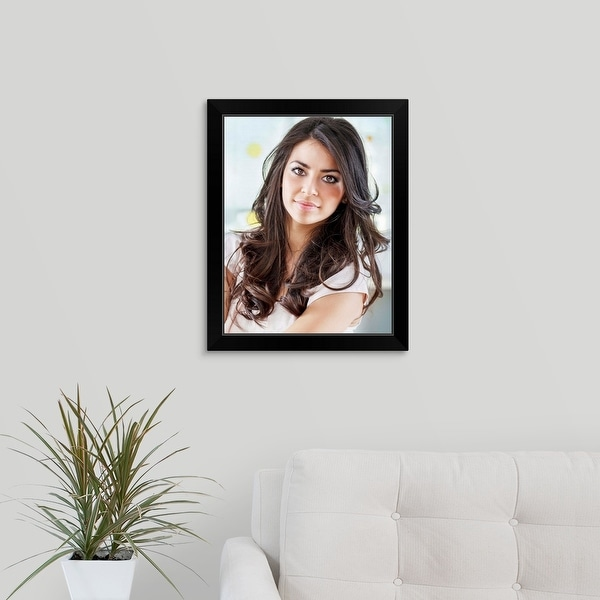 """""""Woman with Nice Hairstyle"""" Black Framed Print"""