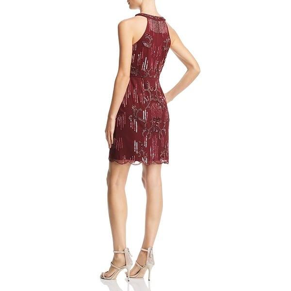 Aidan by Aidan Mattox Women/'s Sequined Sleeveless V-Neck Mini Dress