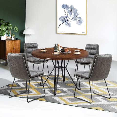 Furniture R Industrial Wood 5-piece Dining Table Set