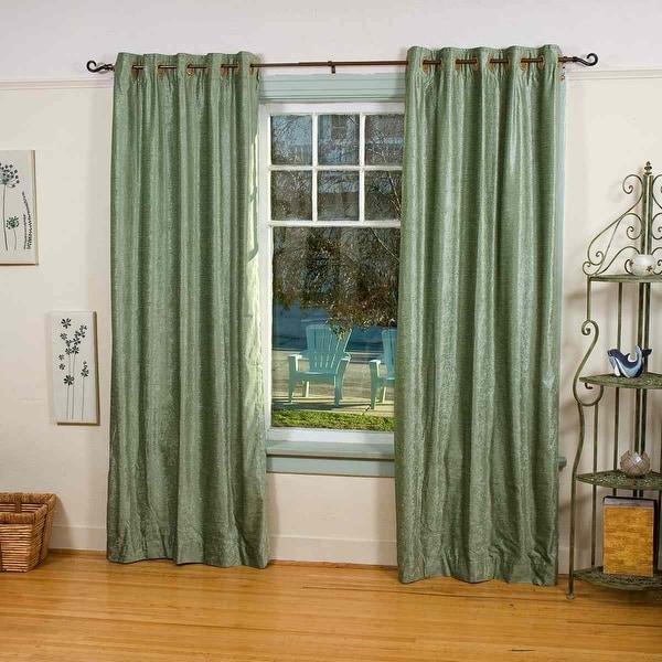 Olive Green Ring / Grommet Top Velvet Curtain / Drape / Panel - Piece. Opens flyout.