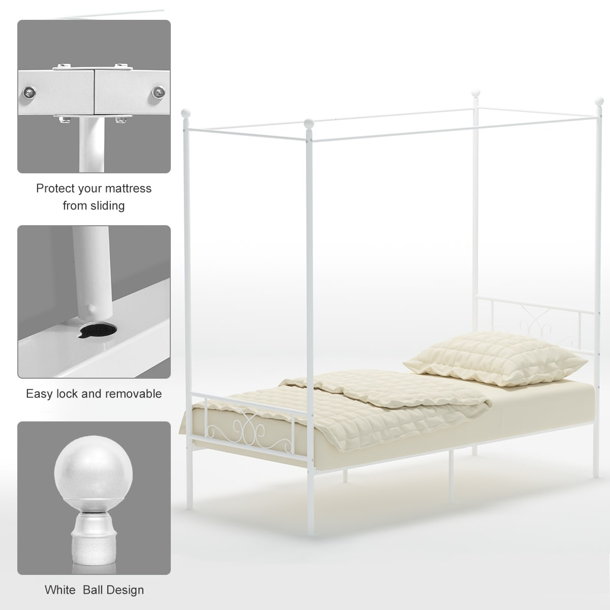 Shop Black Friday Deals On Teraves Twin Full Queen Metal Canopy Bed Replacement Four Post Canopy Bed Frame Platform Multiple Colors On Sale Overstock 30031806
