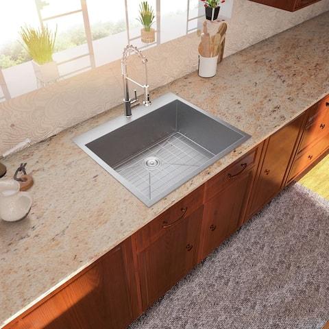 Lordear 25 Inch Kitchen Sink Drop-in Topmount Single Bowl Sink