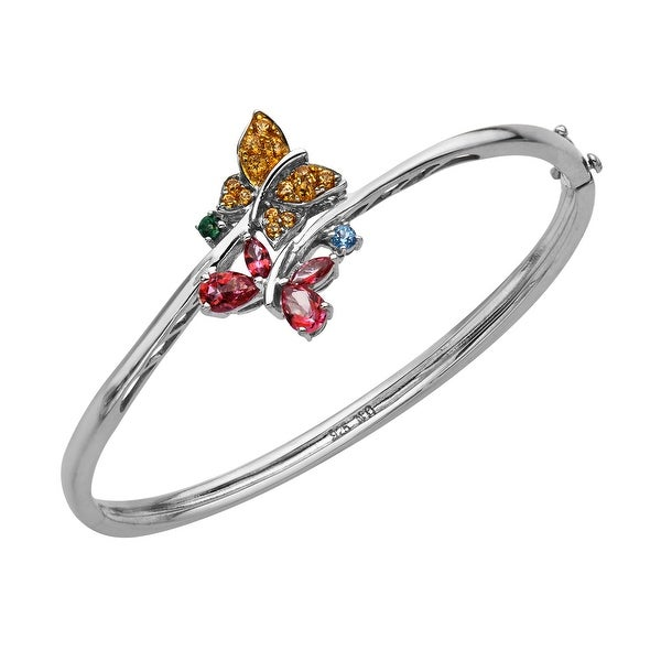 1 3/4 ct Rainbow Topaz Butterfly Bangle in Sterling Silver - Pink