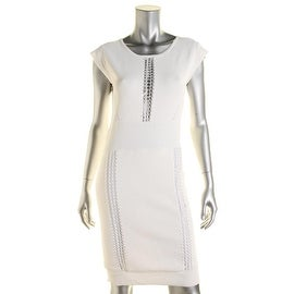 French Connection Womens Perforated Cap Sleeves Cocktail Dress - 10