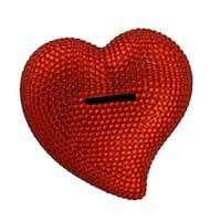 Red Rhinestone Razzle Dazzle Heart Shaped Bling Bank