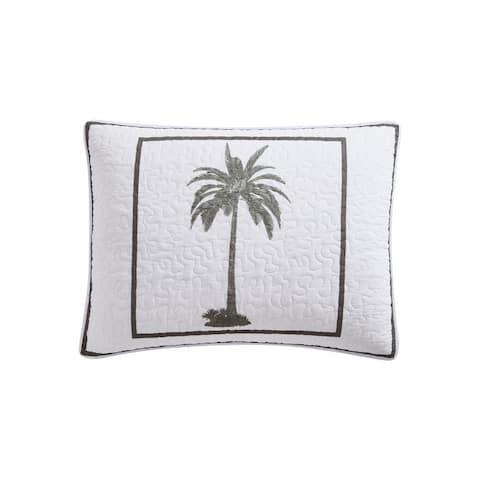 Tommy Bahama Palm Island Cotton Grey Quilt and Coordinating Shams