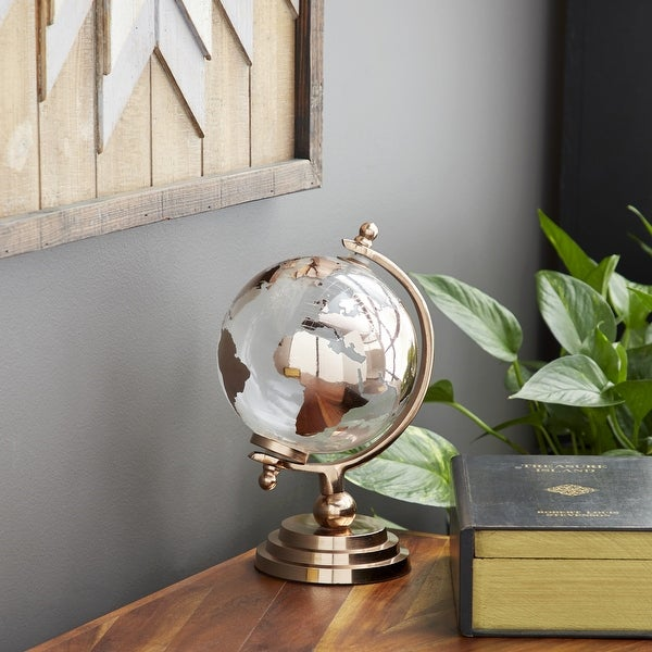 Modern 11 x 6 Inch Copper Glass and Aluminum Globe Decor. Opens flyout.