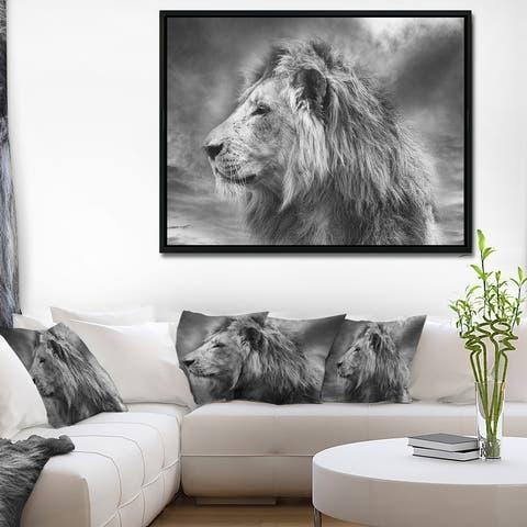 Designart 'Grey Wild African Lion' Animal Framed Canvas Art Print
