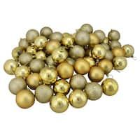 "60ct Vegas Gold Shatterproof 4-Finish Christmas Ball Ornaments 2.5"" (60mm)"