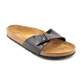 Birkenstock Madrid Women Open Toe Patent Leather Black Slides Sandal