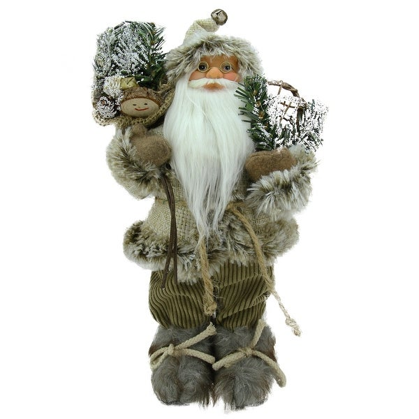 "12"" Alpine Chic Beige and Brown Burlap and Corduroy Standing Santa with Snowshoes and Gift Bag"