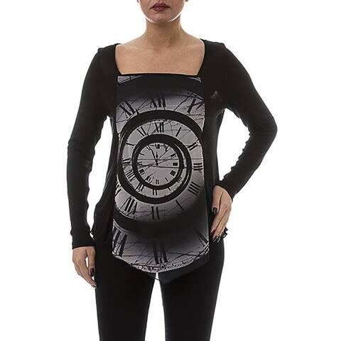 LA MOUETTE Women's Plus Size V Blouse with Print