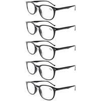 Eyekepper 5-Pack Spring Hinges 80's Classic Reading Glasses Black +1.50