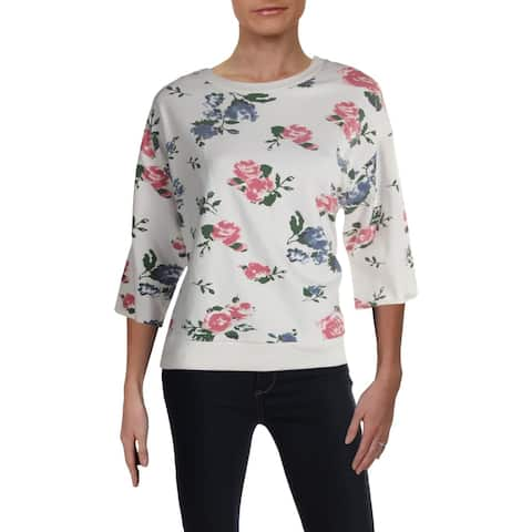 RD Style Womens Sweater Floral Pront Knit Trim - Pink Off White