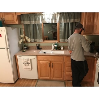 Sage Country Style Kitchen Curtains with White Daisy Lace Accent ...