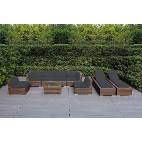 Ohana Outdoor Patio 9-piece Mixed Brown Cushioned Wicker Sofa Set