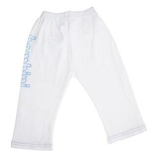 LS-0207 Boys Pants with Print, White & Blue - Medium