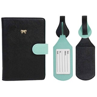 JAVOedge Two Tone Color RFID Blocking Passport Case with Pen Holder and 2 Matching Luggage Tags