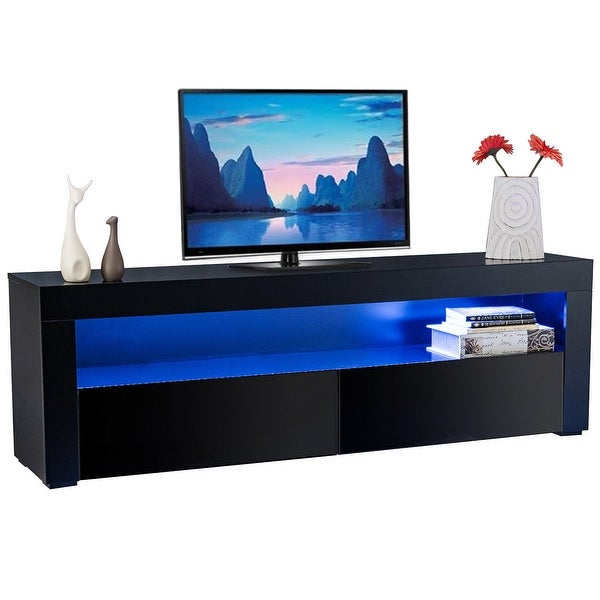 Costway High Gloss Tv Stand Unit Cabinet Console Furniture W Led Shelves And Drawers