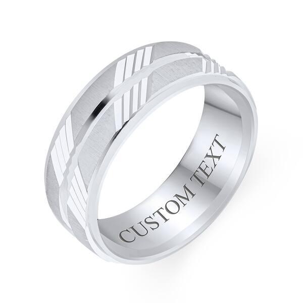 sterling silver unisex diamond wedding band