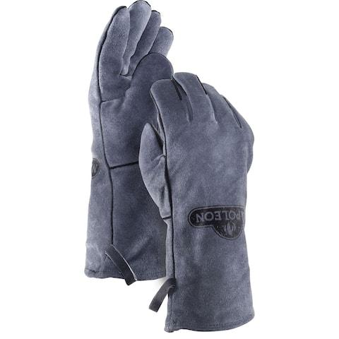 Napoleon 62147 Genuine Leather BBQ Gloves - Black And Grey