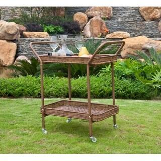 """32"""" Honey Brown Resin Wicker Outdoor Patio Garden Serving Cart with Wheels"""